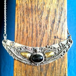 Antique Sterling Gold and Black Onyx Necklace